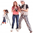 Happy family with three camera. — Photo