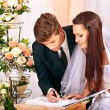 Groom and bride register marriage — Stock Photo #30142841