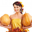Woman holding autumn pumkin. — Stock Photo #30142963