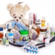 Child medicine and teddy bear. — Stock Photo #30143115