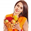 Woman holding autumn basket. — Stock Photo #30143273