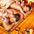 Man and woman getting herbal ball massage in spa. — Foto Stock