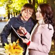 Stock Photo: Couple on date autumn outdoor.