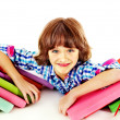 Child with stack of books. — Foto Stock