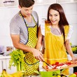 Couple cooking at kitchen. — Stock Photo