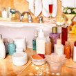 Cosmetics still life at home bath. — Foto Stock