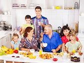 Big happy family have breakfast. — Stock Photo