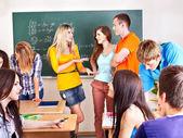 Group student near blackboard. — Stock Photo