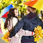 Couple on date autumn outdoor. — Stock Photo #30432717