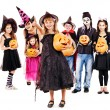 Halloween party with group kid holding carving pumpkin. — Stock Photo #30432737