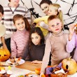 Halloween party with children holding trick or treat. — Stock Photo #30432741