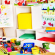 Stock Photo: School interior with paint and crayon.
