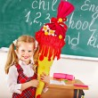 Stock Photo: Child with school cone.