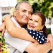 Happy old couple outdoor. — Stock Photo