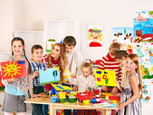 Child painting at art school. — Stock Photo