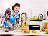 Grandmother and grandchild baking cookies. — Stock Photo