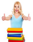 Girl with stack book showing thumb up. — Stock Photo