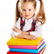 Stock Photo: Child with stack book.