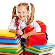 Child with stack book. — Stock Photo