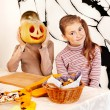 Halloween party with children holding trick or treat. — Stock Photo #30744193