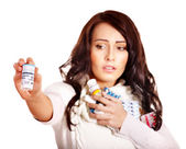 Woman having pills and tablets. — Stock Photo