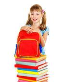 School child holding book. — Stock Photo