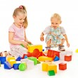 Stock Photo: Children play building blocks.