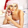 Woman getting massage in Xmas spa. — Stock Photo