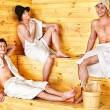 Stock Photo: Group people in hat at sauna.
