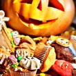 Halloween table with trick or treat — Stock Photo #31639333