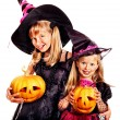 Witch children at Halloween party. — Stock Photo