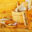 Still life with sauna accessories. — Stock Photo