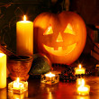 Stock Photo: Halloween pumpkin lantern.