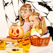 Halloween party with children holding trick or treat. — Stock Photo #31639983