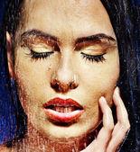 水ドロップで濡れた女顔. — ストック写真
