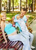 Pregnant woman outdoor. — Stock Photo