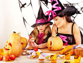 Family carving pumpkin . — Stock Photo