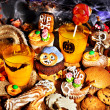 Halloween table with trick or treat — Stock Photo