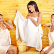 Friend relaxing in sauna. — Stock Photo