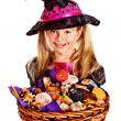 Stock Photo: Witch children at Halloween party.