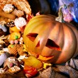 Stock Photo: Halloween table with trick or treat