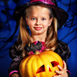 Witch child at Halloween party. — Stock Photo