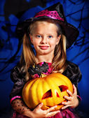 Witch child at Halloween party. — Foto de Stock