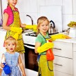 Stock Photo: Children cooking at kitchen.