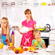 Stock Photo: Family breakfast with child