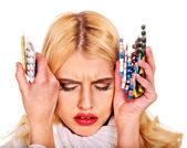 Young woman having flu takes pills. — Stockfoto