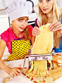 Mother and child making homemade pasta. — Stock Photo