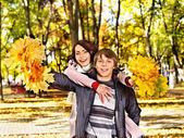 Couple on date autumn outdoor. — Stock Photo