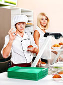 Male wearing chef uniform. — Stock Photo