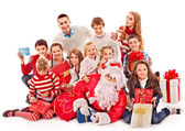 Noel baba ile çocuk grup. — Stok fotoğraf